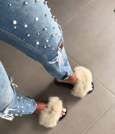 New post on glitterybarbie Denim Slides, Fur Slides, Mode Outfits, Fashion Outfits, Ootd Fashion, Reebok Classic Leather Black, Fluffy Shoes, Cute Slippers, Cute Kids Fashion