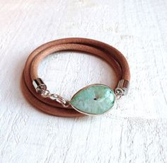 Bracelet with Agate Stone silver plated. Brown Leather by ByCeci