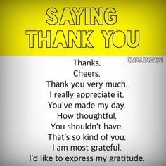 "Saying ""Thank you"" English Learning Spoken, Learn English Grammar, English Vocabulary Words, Learn English Words, English Phrases, English Idioms, English Language Learning, English Tips, English Study"