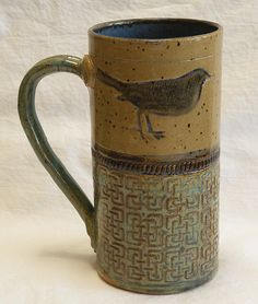 Stoneware blackbird coffee mug 20oz by desertNOVA, $22.00