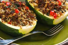 Zucchini Stuffed with Brown Rice, Ground Beef, Red Pepper, and Basil