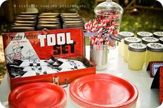 Car Themed Party Tool Set Silverware Sets Display