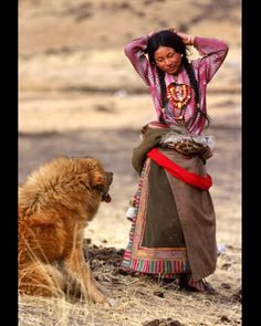 Tibetan woman & her Mastiff!