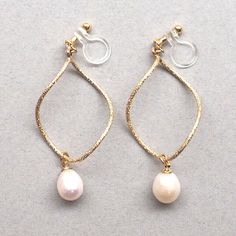 Freshwater Pearl Clip On Earrings Hoop Invisible Dangle Drop Gold