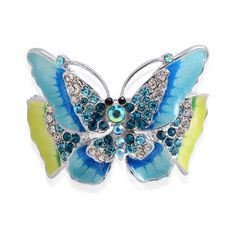 Creature Couture - Butterfly Bangle with Blue and White Austrian Crystal in Silvertone (7.5 in)