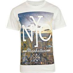 White NYC city scape print t-shirt - print t-shirts - t-shirts / vests - men