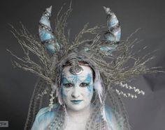 Forest Druid Goddess Tribal Barbarian Headdress with by Sarieka