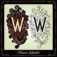 capitales e iniciales en el estilo rococó hecho a mano, sobre la base de los manuscritos antiguos photo