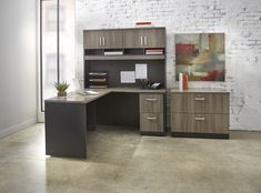 Home office set up in NBF's exclusive Hudson Elm gray finish. Grey Home Office Furniture, Business Furniture, Modular Furniture, Diy Kitchen Island, Kitchen Decor, Furniture Doctor, Kitchen Work Tables, Stainless Kitchen