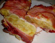 Pastel de patatas, beicón y queso