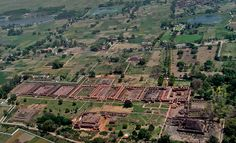 The North Indian monastic university of Nalanda thrived from the 7th to 12th centuries and it was here that monks from all over South Asia and the Himalayas came to study and translate texts.  Each of these rectangular monasteries lined with residential cells would have had many stories. #Buddhism