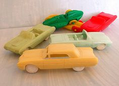 Vintage Plastic Toy Cars Mold and Die Works Cereal by CrowsCottage