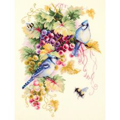 Гоблен Чудесная игла 130-022 Vintage Embroidery, Cross Stitch Embroidery, Cross Stitch Patterns, Vine Leaves, Embroidery Transfers, Great Hobbies, Blue Jay, Grape Vines, Bunt