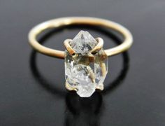 Herkimer Diamond Engagement Ring  Quartz Crystal Ring  Gold