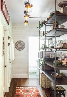 modern, vintage, eclectic farmhouse kitchen makeover and industrial pipe shelving in open pantry Open Pantry, Small Pantry, Pantry Closet, Organized Pantry, Garage Closet, Corner Pantry, Pantry Makeover, Modern Farmhouse Kitchens, Home Kitchens