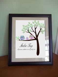 @nikki gudselak .. This would be really cute.   A beautiful finger painting owl/woodland design for mummy, daddy and baby to create :)