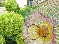 glass garden flower glass plate flower upcycled glass