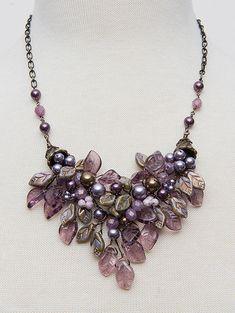 Burgundy Bib Necklace, Statement Necklace, Flower Necklace, Wedding Jewelry, Vintage Style Jewelry
