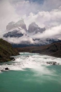 Torres del Paine national park. #cloudymountains #crystalwater #tallpeaks