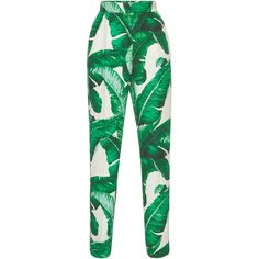 Dolce & Gabbana Palm Leaf Printed Trousers (90.540 RUB) ❤ liked on Polyvore featuring pants, trousers, bottoms, calças, dolce & gabbana, high rise pants, high-waisted trousers, high-waist trousers, palm print pants and high-waisted pants