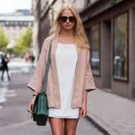 perfect neutral shift dress and 3/4 sleeve jacket... a perfect backdrop for a fabulous mesh piece