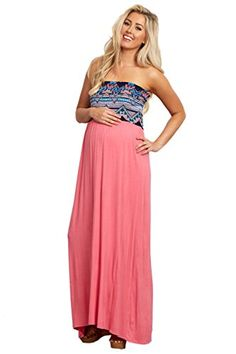 PinkBlush Maternity Pink Navy Printed Top Strapless Maternity Maxi Dress Large