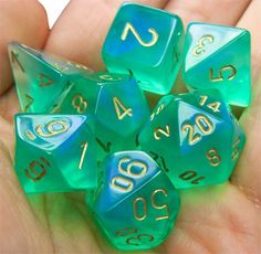 RPG Dice Set (Borealis Pale Green) role playing game dice + bag