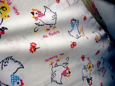 Chicken fabric by Scorpions and Centaurs, via Flickr Farmhouse Fabric, Centaur, Work Inspiration, Surface Design, Rooster, Fabrics, Quilts, Chicken, Tejidos