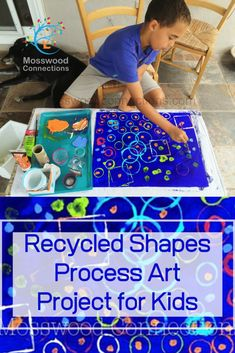 Use recycled items to make art with this Recycled Shapes Process Art Project. Kids will have fun discovering shapes with this Process Art Project! Creative Activities For Kids, Craft Activities, Preschool Crafts, Teaching Activities, Creative Play, Toddler Activities, Teaching Ideas, Toddler Art Projects, Projects For Kids
