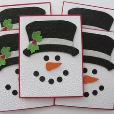Your place to buy and sell all things handmade Embossed Snowman Christmas Cards Embossed Snowman Cards Christmas Card Crafts, Homemade Christmas Cards, Christmas Cards To Make, Christmas Snowman, Homemade Cards, Christmas Decorations, Snowman Hat, Diy Holiday Cards, Cards Diy