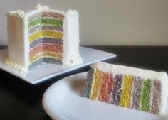 Please make this rainbow cake instead of that other one floating around pinterest. Use naturally colored food dye's instead of the chemical one's suggested in most recipes!