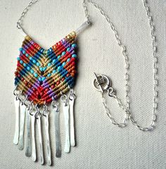 Sterling Silver Chevron Necklace with Silver Tassels- Macrame