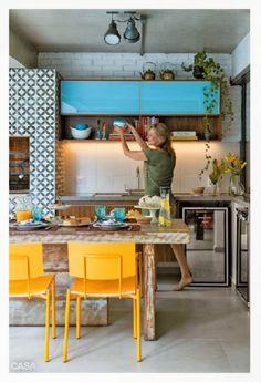 Cozinha Amarelo/azul turquesa