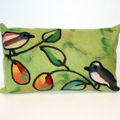 Love this little Liora Manne Song Birds Rectangle Outdoor Pillow in Green