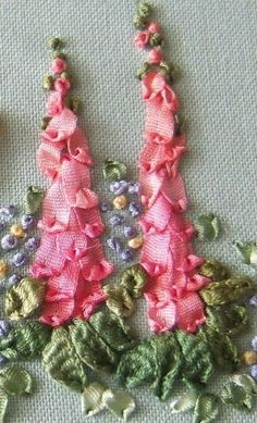 Wonderful Ribbon Embroidery Flowers by Hand Ideas. Enchanting Ribbon Embroidery Flowers by Hand Ideas. Embroidery Designs, Ribbon Embroidery Tutorial, Silk Ribbon Embroidery, Vintage Embroidery, Embroidery Stitches, Embroidery Patterns, Hand Embroidery, Leather Embroidery, Embroidery Machines
