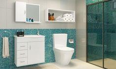 Conjunto para Banheiro com Balcão Gabinete com pia, Espelheira e Nicho Branco - Caaza