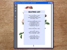 A vintage rose printable seating list that is easy and quick to make. Just enter your guests names and table numbers and print. Make as many as you need, instantly!