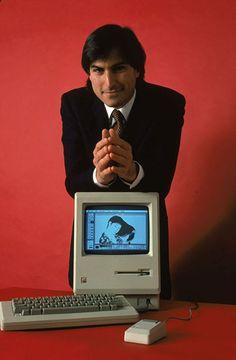 1984: Steve Jobs with the Macintosh 128k, the original Macintosh computer from Apple