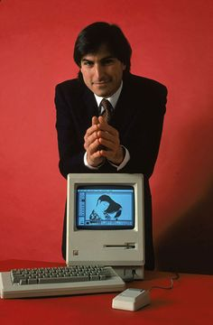 1984: Steve Jobs with the Macintosh 128k, the original Macintosh computer from Apple