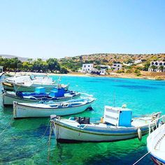 The peaceful port of Heraklia island (Ηρακλειά) . Wonderful Greek traditional fishing boats in a row . Very small island great for private and calmness holidays !