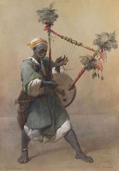 A Nubian harper. Signed, inscribed and dated Carl Haag/Cairo. Nov: 1858, Pencil and watercolour.