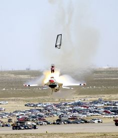 1st year Capt. Christopher Stricklin ejected from his USAF Thunderbird aircraft at an airshow at Mountain Home Air Force Base
