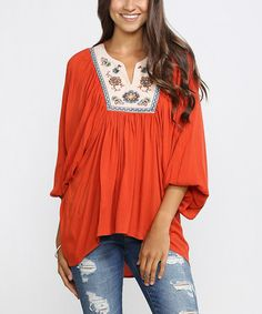 Another great find on #zulily! Rust & White Geometric Notch Neck Top #zulilyfinds