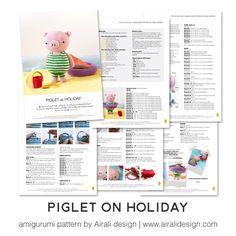 Piglet on holiday amigurumi pattern by airali design