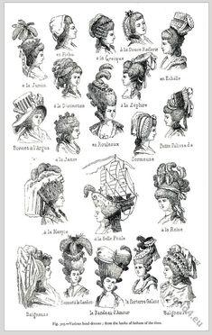 Примеры женских причесок 18 века.