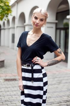 Interesting looking Latvian model Elize Trumpe on the street.  Love the eyebrows.