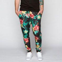 ELWOOD Floral Print Mens Jogger Pants. Bold ass move!