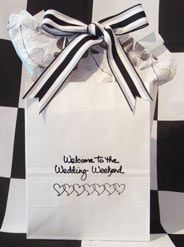These pre-printed bags are available in small quantities, as few as 18. Although they cannot be personalized with your name & date, there are other color options. White bags come in silver, gold or black ink. Black bag comes in white ink. Very striking. No matter how small your wedding, the details mean a lot. Your #outoftownguests have made the effort to come to your wedding, having a welcome treat for them demonstrates your appreciation. www.FavorsYouKeep.com -512.323.0600…