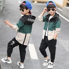 Suit Fashion, Boy Fashion, Fashion Children, Children Clothing, Clothing Sets, Sport Outfits, Boy Outfits, Kids Sportswear, Activewear Sets