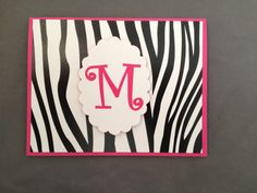 Monogrammed Zebra Print Folded Notecard by sincerelyyours123, 6ct/$15.00